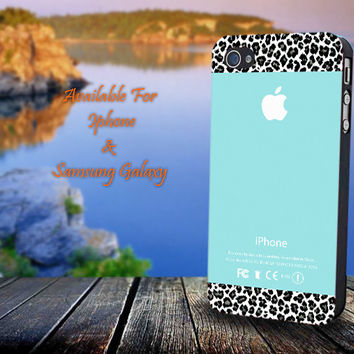 Apple Tiffany Teal and Black Leopard - Print on hard plastic for iPhone case. Please choose the option.