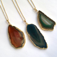 Agate Slice Necklace Agate Pendant Gold Edge Agate Geode Slice Jewelry Gold Dipped Jewerly Mineral Geode Necklace Blue Orange Green Agate