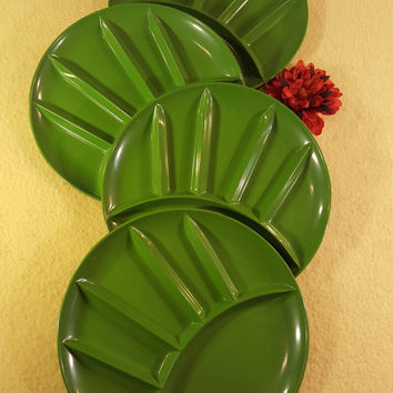 Vintage Fred Roberts Co. 1960s Forest Green Lacquer Enamel Finish Fondue Divider Plates Set of Four