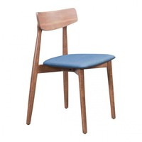 ZUO Modern Newman 100978 Dining Chair Walnut & Ink Blue