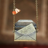 Antique Envelope with Love Message Locket Necklace