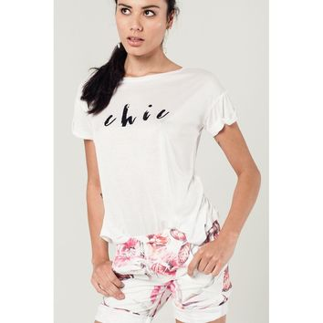 White t-shirt with glitter text message