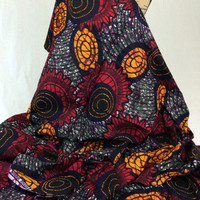 Nigerian Fabric--African Wax Print Fabric--Ankara Fabric--Red, Olive Green, Golden Yellow, Purple and Navy--African Fabric by the HALF YARD