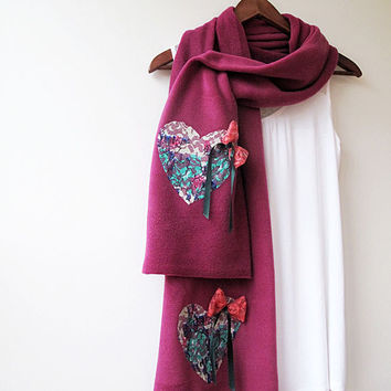 Valentines Day Gift, Pink Lilac, Heart, Scarf. Scarves, Fashion Accessories, Valentine's Day