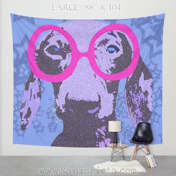 Hipster Dachshund Dog TAPESTRY Decorative Wall Art Nerd Pet Star Starry Galaxy Blue Hot Pink Neon Periwinkle Glasses Geek Home Decor Hanging