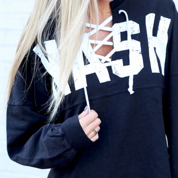Game Day Lace-up Long Sleeve [Black/White]