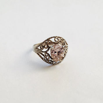 Elegant Vintage Sterling Silver Filigree Ring with Prong Set Oval Pale Pink Faceted Stone, Light Pink, BoHo Ring, Size 9 Ring