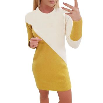 Sexy o neck knitted sweater dress Pullover long sleeve dress Color-block New year dresses women casual vestidos