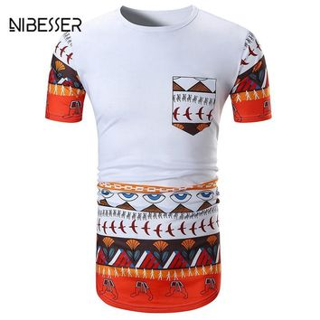 NIBESSER Brand Men Summer Tops Fashion Summer Short Sleeve T Shirt African Clothing Dashiki Clothes Casual Plus Size New Arrive
