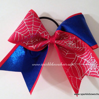 Silver/Blue Spidey Super Hero Cheer Bow Hair Bow Cheerleading