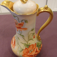 Limoges Red Orange Poppy and Gold Marked Chocolate Pot