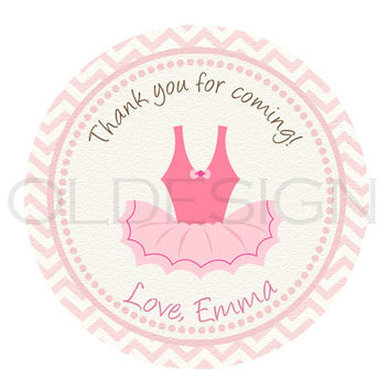 Ballerina birthday, baby shower sticker. 2 Inch Circles. Stickers, Cupcake Topper, Tags,Digital file