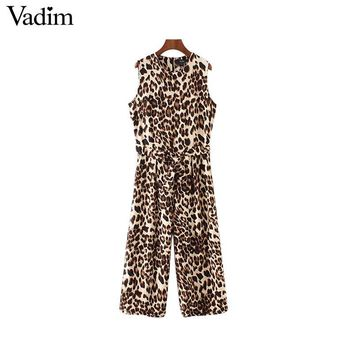 Vadim women sexy leopard print jumpsuits sleeveless bow tie sashes pockets rompers female casual streetwear playsuits KA301