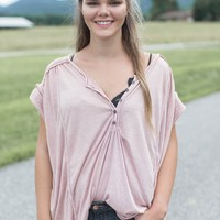 Knit Henley Tee, Light Mauve