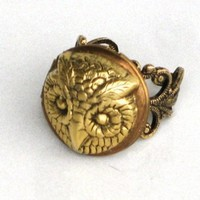 STEAMPUNK - OWL LOCKET RING - Antique Gold - NEO VICTORIAN - By GlazedBlackCherry | GlazedBlackCherry - Bags & Purses on ArtFire