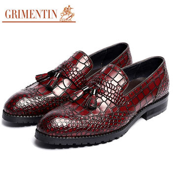 mens genuine leather shoes with tassel vintage fashion black brown slip on business wedding male shoes men