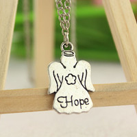 keep hope necklace--angle necklace,antique silver charm pendant,alloy chain,friendship gift