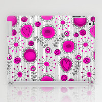 Whimsical flowers in pink and white iPad Case by Silvianna