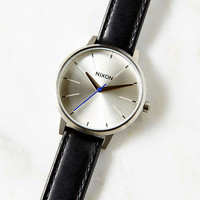 Nixon Kensington Leather Silver + Black Watch - Urban Outfitters