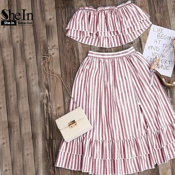 SheIn Crop Top and Skirt Set Strapless Striped Flyaway Bandeau Top and Ruffle Skort Set Summer Womens Two Piece Sets