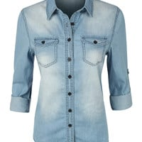 LE3NO Womens Casual Vintage Chambray Button Down Denim Shirt