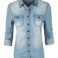 Womens Casual Vintage Chambray Button Down Denim Shirt