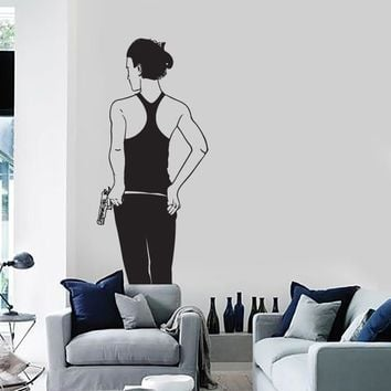 Wall Stickers Vinyl Decal Weapons Mafia Gangster Killer Gun Hot Sexy Girl Unique Gift z1029