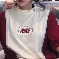 NIKE short-sleeved bust letter print Loose  Beige white Splice Burgundy T-shirt  C-AA-XDD