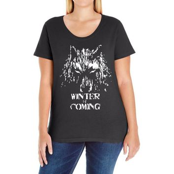 game of thrones direwolf winter is coming Ladies Curvy T-Shirt