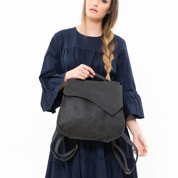 Leather handmade backpack, Leather satchel backpack, Unique leather backpack, Leather zipper bag, Top Handle Bag, Leather handmade backpack