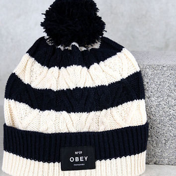 Obey Freja Navy Blue Striped Knit Beanie
