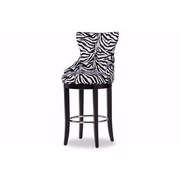 Peace Modern Fabric Upholstered Bar Stool with Metal Footrest By Baxton Studio