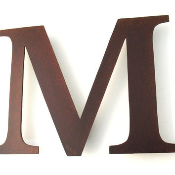 Metal M Sign Letter - Rusty Rustic Wall Art Sculpture Decor