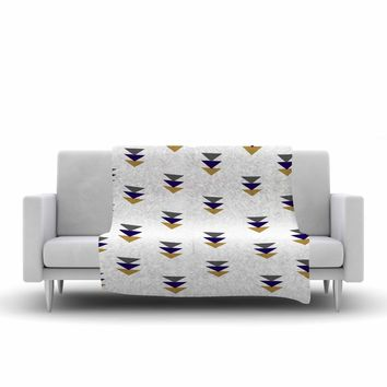 "Jennifer Rizzo ""Random Falling Triangles"" Blue Gold Digital Fleece Throw Blanket"