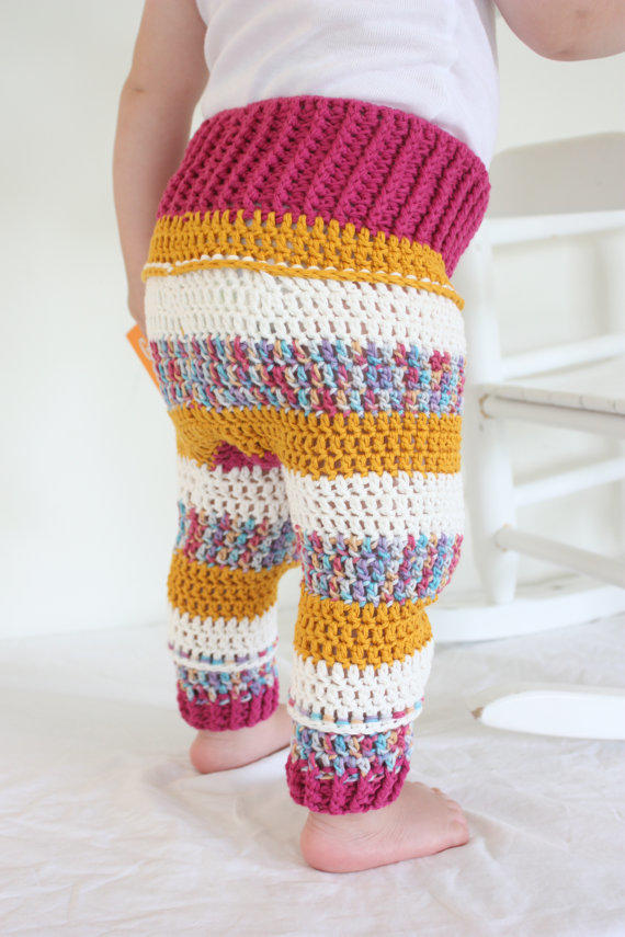 PATTERN Crochet Baby Clothes Pants Romper from PuffalumpBrand