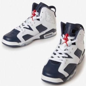 "Nike Air Jordan 6 VI Retro (GS) ""Olympic"" Boys Basketball Shoes 384665-130 White 4 M US"