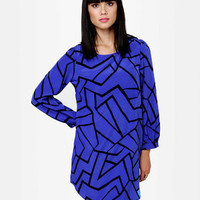 Cute Blue Dress - Shift Dress - Print Dress - $34.00