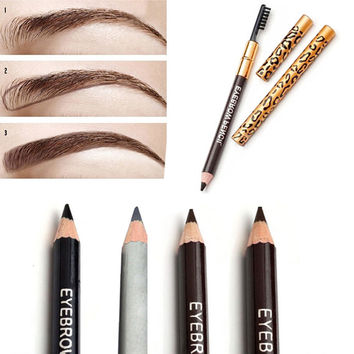 1pcs Eyebrow Pencil & Brush Eyebrow Enhancer Long Lasting Makeup Pencil To Eye Two Sides With Brush Design Metal Casing 5 Colors