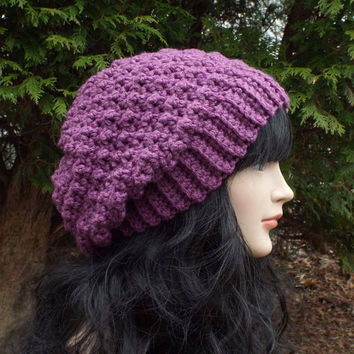 Purple Slouchy Crochet Hat - Womens Slouch Beanie - Ladies Oversized Cap - Chunky Hat