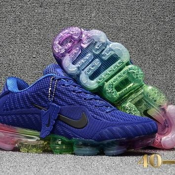 DCCK N355 Nike Air Vapormax 2018 Flyknit Sports Casual Mid Running Shoes Blue