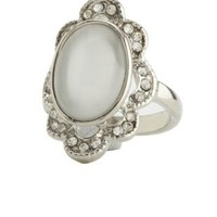 Rhinestone-Trimmed Stone Statement Ring by Charlotte Russe - Silver