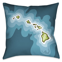 Hawaii Beach Abstract Map Indoor Decorative Pillow