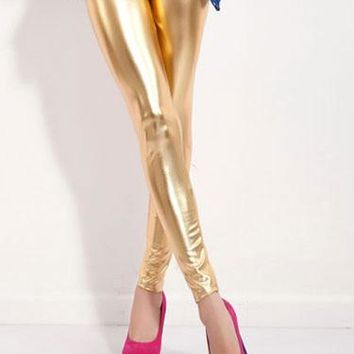 Skinny Fit Liquid Metal Leggings - 4 Colors
