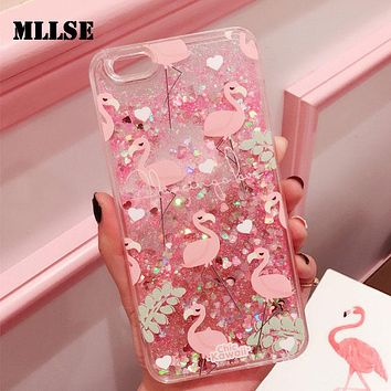 Glitter Capinha For iPhone 7 7Plus 6 6s 6Plus Quicksand Cover Case For iPhone 7 7Plus Flamingo Hard Plastic Coque ipone 6 Cases