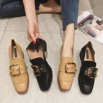 women's shoes Casual square-heeled moccasin loafer buckle spring autumn