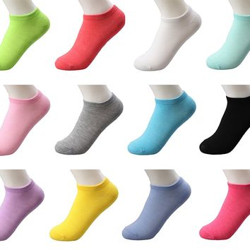 Womens 12 Pack Cotton Low Cut Ankle Socks Causal Workout Solid Color
