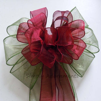 Burgundy Red Green Wedding Pew Bows Christmas Wreath Bows Wedding Chair Bows Shower Party Reception Bows
