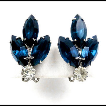 Montana Blue Rhinestone Earrings, Blue Marquise & Clear Round Rhinestones, Blue Earrings, Ear Climbers, Bridesmaid Earrings, Gift for Her