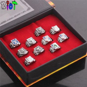 Cool Attack on Titan  10 style ring sets with box The big four corps defensive wall logo vintage bague men jewelry charms souvenirs AT_90_11