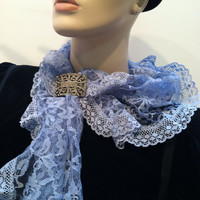 Blue LACE Neck Head Scarf Accessory Authentic Vintage Accessories 50s 60s 70s 80s 90s artedellamoda Bridal Romance Bride Gift